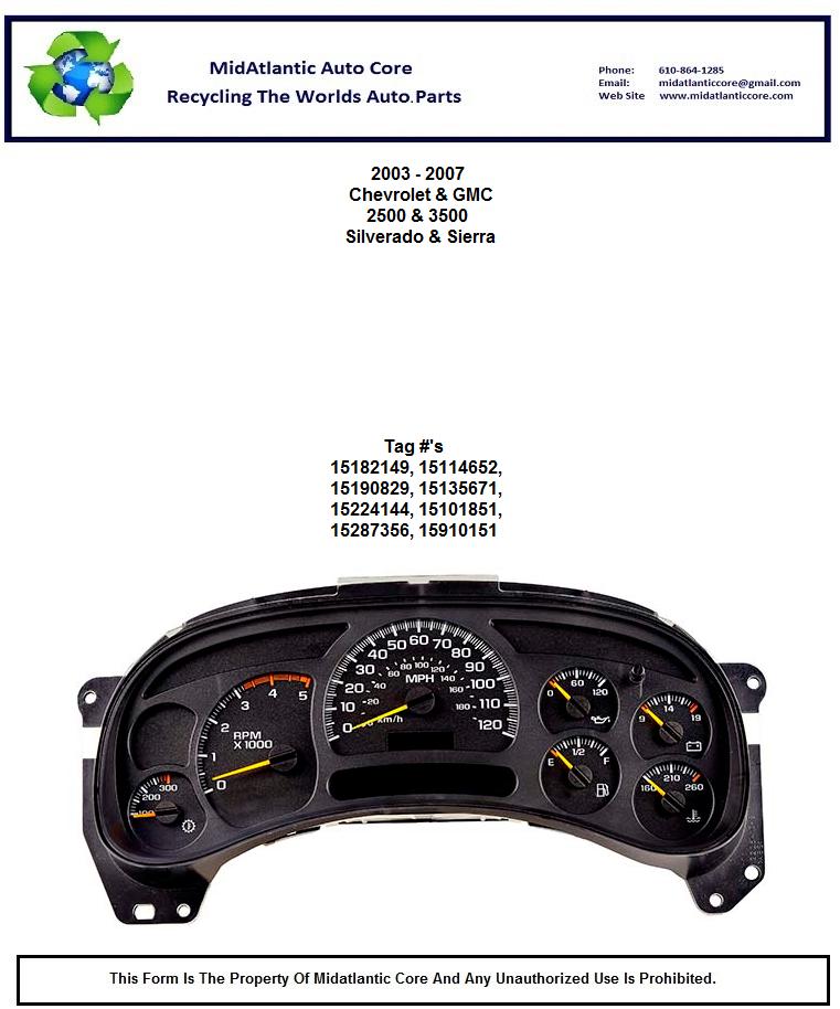 2003 gmc sierra 3500 instrument cluster